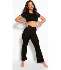 set basic pyjama met wijde pijpen van jersey, zwart