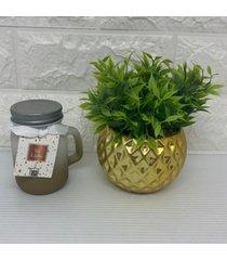 conjunto de vaso dourado com vela aromã¡tica - dourado - feminino - dafiti