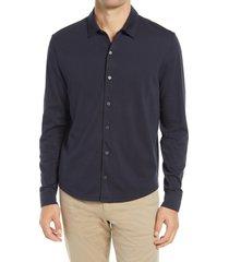 men's vince pima cotton button up shirt, size x-large - blue