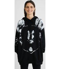 oversize cotton hooded sweatshirt - black - l