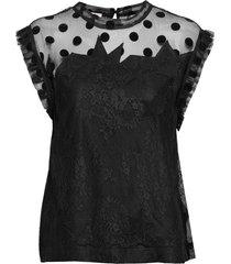 tetro lace top t-shirts & tops sleeveless svart zadig & voltaire