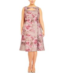 adrianna papell plus size floral a-line dress