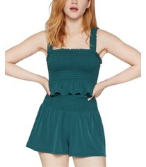 bcbgeneration smocked ruffled crop top