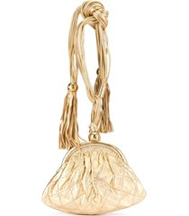 chanel pre-owned quilted cc logos fringe clutch bag - gold