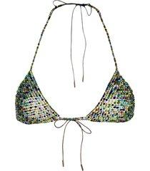 alanui glass bead bikini top - green