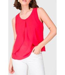 blusa io blusa sin manga lisa capa rojo - calce regular
