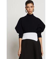 proenza schouler draped puff sleeve knit top black m