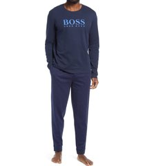 men's boss relax logo cotton pajamas, size x-large - blue