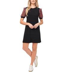 cece floral-puff-sleeve dress