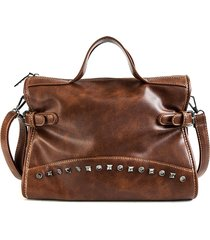 donna olio cera in cuoio pu rivetto solido retro crossbody borsa spalla a grande capacità borsa