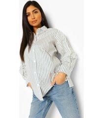 zwangerschap katoenen gestreepte blouse met pofmouwen, white