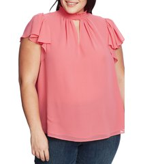 plus size women's 1.state keyhole flutter sleeve blouse, size 1x - pink