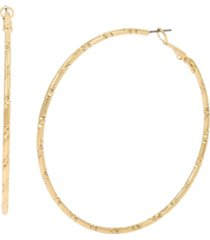 jessica simpson hammered texture hoop earrings, 2.75""