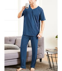 conjunto de pijama de manga corta suave y transpirable de verano para hombre, color liso