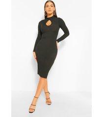cut out high neck midi dress, black