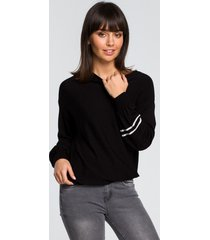 sweter z szerokimi rękawami i lampasem