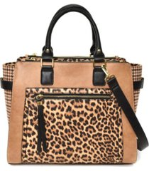 imoshion handbags women's leopard print and plaid satchel with front pocket