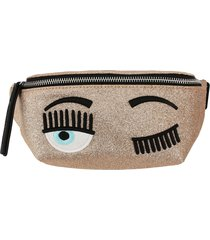 chiara ferragni belt bag chiara ferragni pouch in glitter fabric with flirting embroidery
