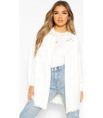 petite oversized corduroy blouse met onbewerkte zoom, white
