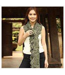 cotton scarf, 'wild jade' (thailand)