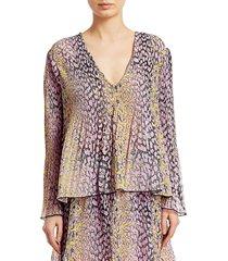ganni women's pleated georgette blouse - phantom - size 34 (2)