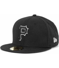 new era pittsburgh pirates black and white fashion 59fifty cap