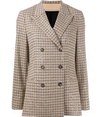 brunello cucinelli crystal-embellished tweed blazer - brown
