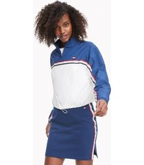 tommy hilfiger women's essential crinkle half zip jacket deep blue/ white - xs