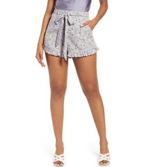 lulus floral print shorts, size x-large in lilac at nordstrom
