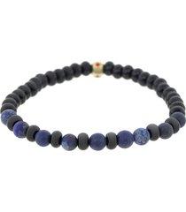 blue lapis and onyx mix bead bracelet