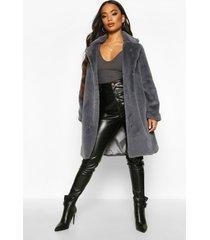 petite luxe faux fur jas, leisteen