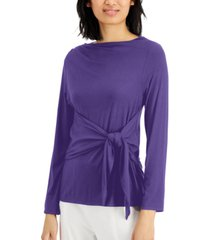 alfani tie-front long-sleeve top, created for macy's