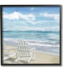 """stupell industries home decor collection adirondack chairs on the beach painting framed giclee art 12"""" l x 1.5"""" w x 12"""" h"""