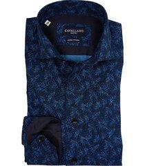 cavallaro bosco overhemd donkerblauw print