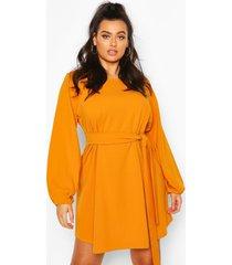 plus blouson sleeve belted shift dress, mustard