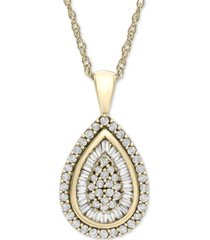 wrapped in love diamond teardrop pendant necklace in 14k white gold (1/2 ct. t.w.), created for macy's