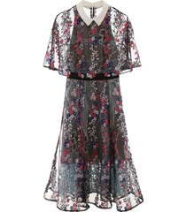 self-portrait floral midi dress with cape