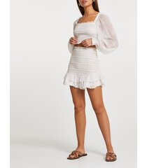 river island womens white shirred chiffon tiered mini skirt