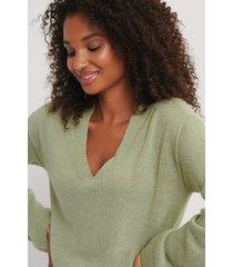 rut&circle v-ringad tröja - green