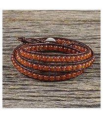 carnelian beaded wrap bracelet, 'spring fire' (thailand)