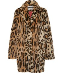 margot ocelot-print faux fur coat