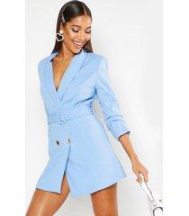 geweven getailleerde blazer jurk met ceintuur, blauw