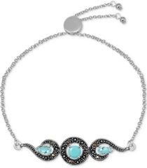 genuine swarovski marcasite & reconstituted turquoise adjustable bracelet in fine silver-plate