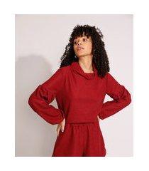 blusa ampla texturizada manga bufante gola alta vermelha