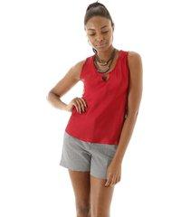 blusa sem manga com abertura no decote lisa vermelha - azul