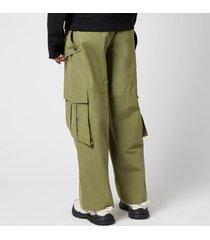 kenzo men's oversized cargo pants - kaki moleskin - w34