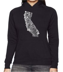 la pop art women's word art hooded sweatshirt -california state