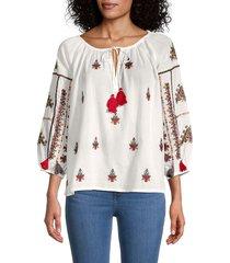 velvet women's nyssa embroidered tassel-tie top - off white - size s
