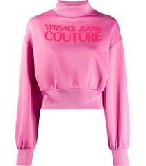 versace jeans couture logo print sweatshirt - pink