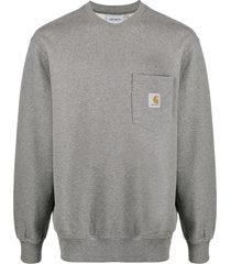 carhartt wip pocket logo patch sweatshirt - grey